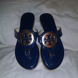 Tory Burch 35 Miller Patent Blue Sandals